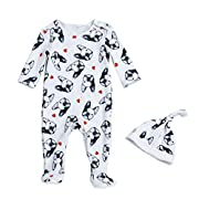 Beide Baby Boys Girls Unisex One Piece Bulldog Footies Pijama With Hat (18-24m, color1)