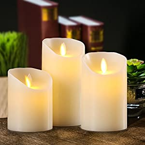 Aku Tonpa Flameless Candles Battery Operated Pillar Real Wax Flickering Moving Wick Electric LED Candle Sets with Remote Control Cycling 24 Hours Timer, 4″ 5″ 6″ Pack of 3