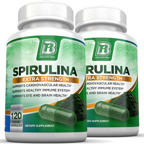 BRI Nutrition Spirulina - 2000mg Maximum Strength Supplement - 2-Pack by BRI Nutrition
