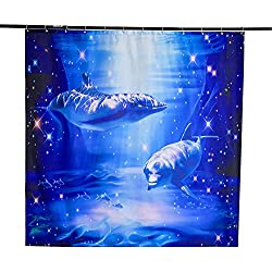 "Beddinginn 3D Dolphin Shower Curtain Blue Fabric Decor Shower Curtain Nature Sea Scenery Print Bath Shower Decor 72"" X 72"""