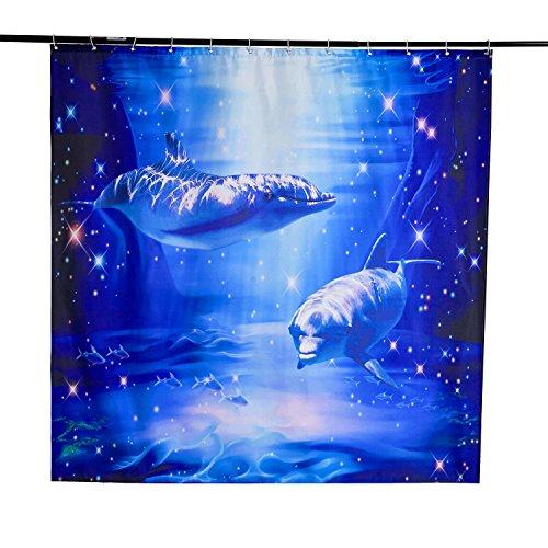 "Beddinginn 3D Dolphin Shower Curtain Blue Fabric Decor Shower Curtain Nature Sea Scenery Print Bath Shower Decor 72"" X 72"""