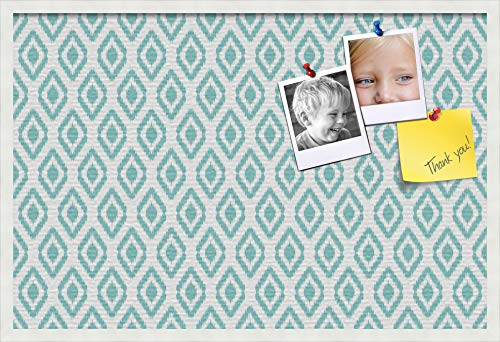 PinPix custom printed pin cork bulletin board made from canvas, Ikat Aqua 36x24 Inches (Completed Size) and framed in Satin White Frame (PinPix-Group-65) -