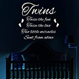HUANYI white color Twins Wall Sticker Bedroom Nursery Child Decal Quote Vinyl Transfer Decoration
