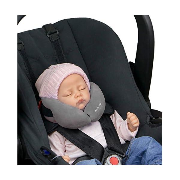 SANDINI SleepFix® Baby – Oreiller/coussin de nuque pour enfant avec fonction soutien – Accessoire de siège enfant – Appuie-tête/Réducteur de siège/Empêche la tête de basculer pendant le sommeil 1
