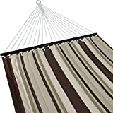 ZENY New Portable Cotton Hammock Quilted Fabric with Pillow Double Size Spreader Bar Heavy Duty Outdoor Camping w/Detachable Pillow, Suitable for 12FT Hammock Stand (brown/gray stripe)