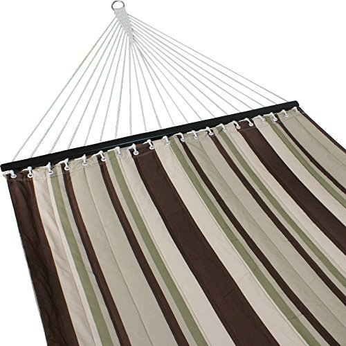 ZENY New Portable Cotton Hammock Quilted Fabric with Pillow Double Size Spreader Bar Heavy Duty Outdoor Camping w/Detachable Pillow, Suitable for 12FT Hammock Stand (brown/gray stripe) by ZENY