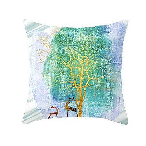 QBQCBB Polyester Elk Pillow Case Cover Sofa Car Throw Waist Cushion Cover Home Decor(C)