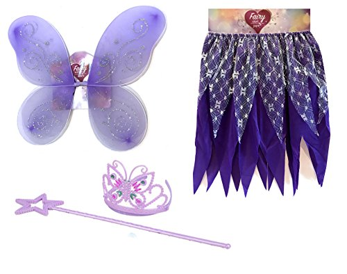 Purple Satin Butterfly Wings For Kids (Woodland Fairy Costumes Kids - Princess Fairy- Fairy Costumes For Girls (Purple))