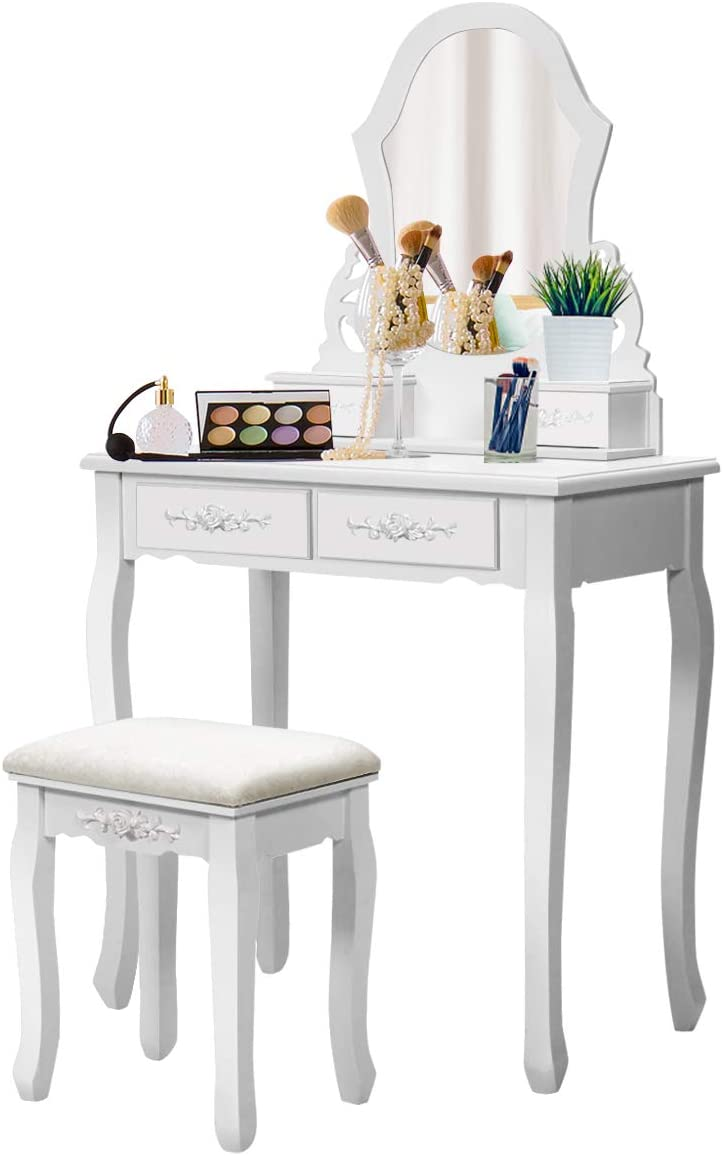 Giantex Vanity Table Set with Mirror for Makeup Modern Cushioned Bench Stool Bedroom Wood Style Furniture Top Removable Multifunctional Writing Desk Dressing Tables for Girls White, 4 Drawers