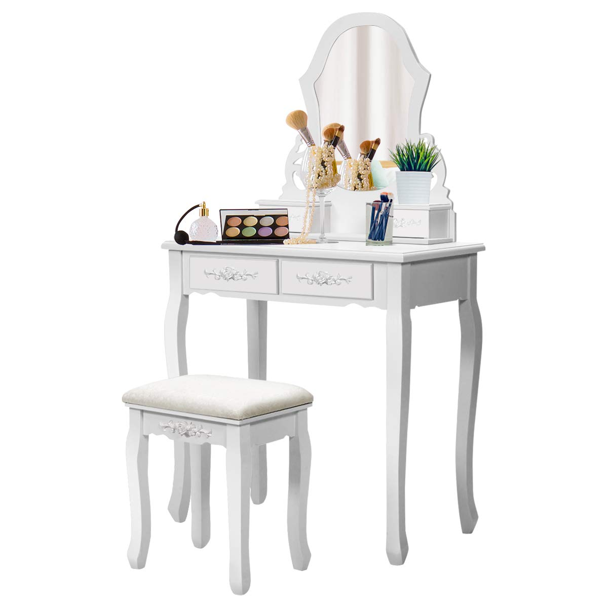 Giantex vanity table set with mirror for makeup modern cushioned bench stool bedroom wood style furniture top removable multifunctional writing desk
