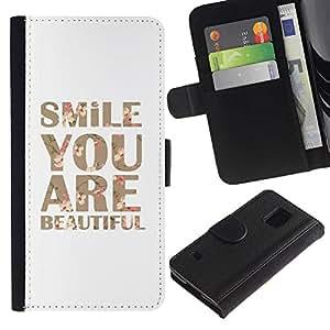 Planetar® Modelo colorido cuero carpeta tirón caso cubierta piel Holster Funda protección Para SAMSUNG Galaxy S5 V / i9600 / SM-G900 ( Smile You Are Beautiful Text Motivational )