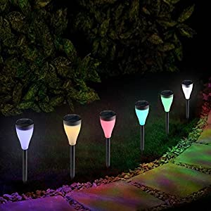 If Love 7-Color Changing Solar Lights Waterproof Outdoor LED Power Lawn Lamp Perfect for Garden Landscape Path Yard Pathways