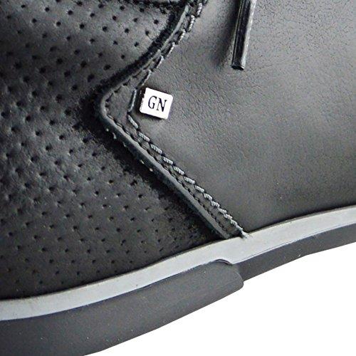 Kick Footwear - Männer Echte Leder Smart Formal Lace Up Casual Trainers Flache Sohle Fashion Schuhe Schwarz