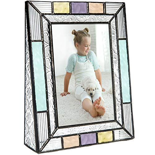 (Colorful Glass Picture Frames Vertical 4x6 Photo Table Top Blue Peach Purple Turquoise Home Decor Family Baby Gift J Devlin Pic 372-46V)