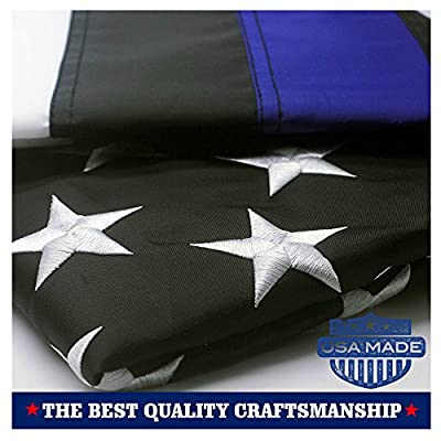 VSVO Thin Blue/Red Line and American Flag 3x5- Embroidered Stars and Sewn Stripes with Grommets USA Flags