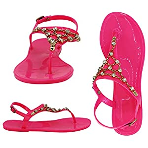 Best Pink Jellies Jeweled T Strap Buckled Sandal Cute Sexy Summer Party 2018 Pretty Flat Low Heel Comfy Dressy Bedazzled Slip On Flip Flop Slippers for Sale Woman Lady Teen Girl (Size 10, Pink)