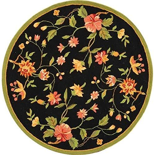 Safavieh Hand-Hooked Chelsea Alexandr Country Oriental Wool Rug Black 4' x 4' Round