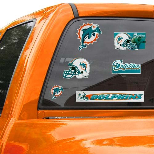 "WinCraft NFL Miami Dolphins Ultra Decal Sheet, 11""x17"", Team Color"