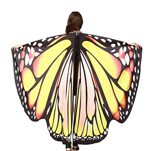 Creazy Women Butterfly Wings Shawl Scarves Ladies Nymph Pixie Poncho Costume Accessory (Yellow)