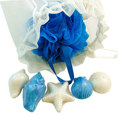 Bath Pouf Sponge & Soap Nautical Beach Set with Mesh Bag