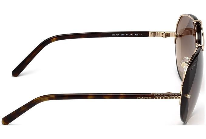 333f9a046f Swarovski SW134 28F (Dark Havana - Gold with Brown Gradient lenses) at  Amazon Men s Clothing store
