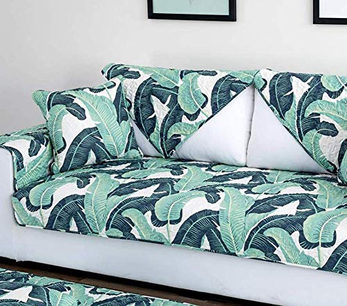 - BW0057 Fashion Sofa Cushion Couch Cover Natural Look Printed Sofa Slipcover Loveseat,Recliner Furniture Protector for Pets(1 Piece,W36 x L82inch,Green)