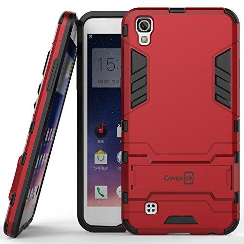 (LG X Power Case, CoverON [Shadow Armor Series] Hard Slim Hybrid Kickstand Phone Cover Case for LG X Power K210 / K6P - Red)