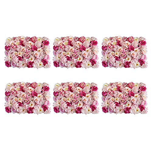 Flameer Pack of 6 Artificial Flower Wall Panels Greenery Privacy Fence Screening Home Garden Wedding Decoration from Flameer