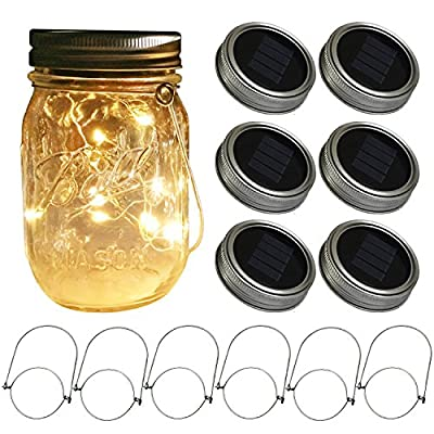 Waterproof Solar Mason Jar Lights,Solar Fairy Firefly Led Lights Lids Insert,For Regular Mouth Mason Jars for Patio Garden Decor Solar Laterns Table Light
