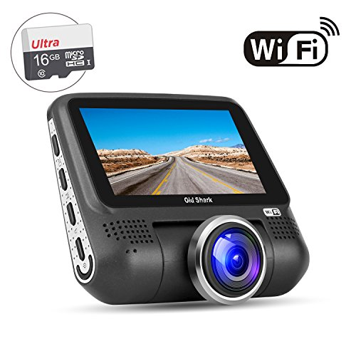 OldShark G15 Dash Cam with WiFi (Free 16GB SD Card),1080P Full HD in Car DVR 220 Degree Wide Angle 3