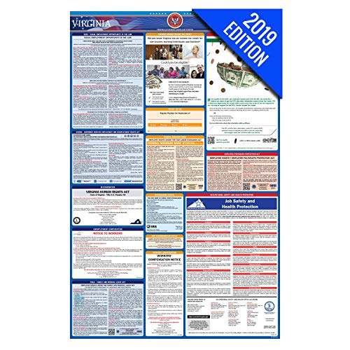(2019 Virginia Labor Law Poster – State, Federal, OSHA Compliant – Laminated Mandatory All in One Poster)