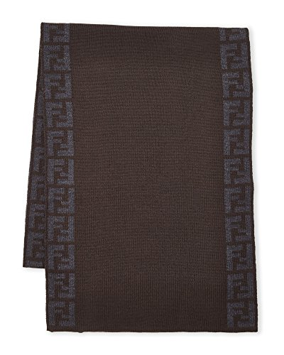 Fendi Knit Monogram Wool Scarf Zucca Stripe, T'Moro Brown by Fendi