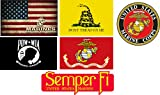 "marine corps auto decal - 6 Pack Gift Set USMC United States Marine Corps US EGA Patriotic Military Auto Decal Bumper Sticker 5x3"" - Vinyl Decal For Cars Trucks RV SUV Boats Support US Military (Complete Set)"