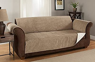 GPD Heavy-Weight Luxury Textured Microsuede Pebbles Furniture Protector and Slipcover with Anti-slip Non-slip Backing (XL Sofa, Chocolate)-Water Repellant