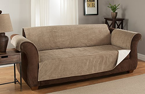 Furniture Fresh Heavy-Weight Luxury Textured Microsuede Pebbles Furniture Protector and Slipcover with Anti-slip Non-slip Backing (Loveseat, Natural)-Water Repellant