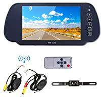Ehotchpotch 7 Inch TFT LCD Widescreen Rearview Monitor + 2.4G Wireless Car Reverse Rear View Backup Camera Parking Assistance System, Waterproof, Night Vision