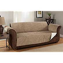 GPD Heavy-Weight Luxury Textured Microsuede Pebbles Furniture Protector and Slipcover with Anti-slip Non-slip Backing (Natural, Loveseat)---Water-repellant