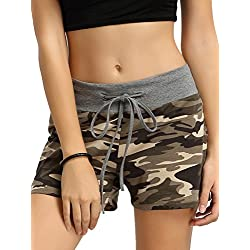 SweatyRocks Camouflage Workout Yoga Shorts Pants Hot Shorts for women S