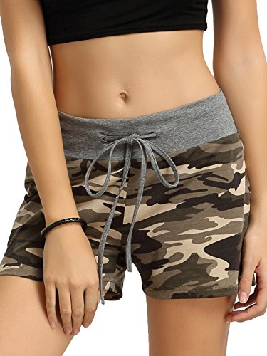 SweatyRocks Camouflage Workout Yoga Shorts Pants Hot Shorts for women M