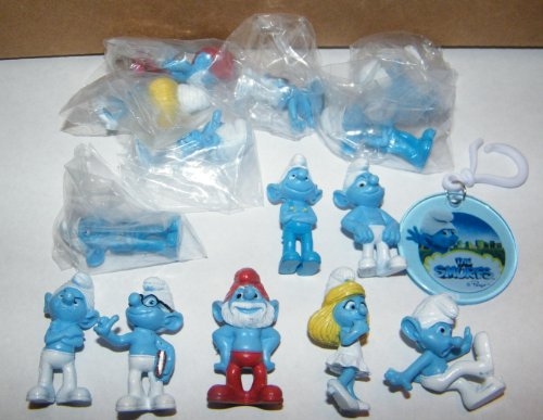 Smurf Figure 14 Party Favors with Bonus Sticker and Backpack Clip for the Party Host