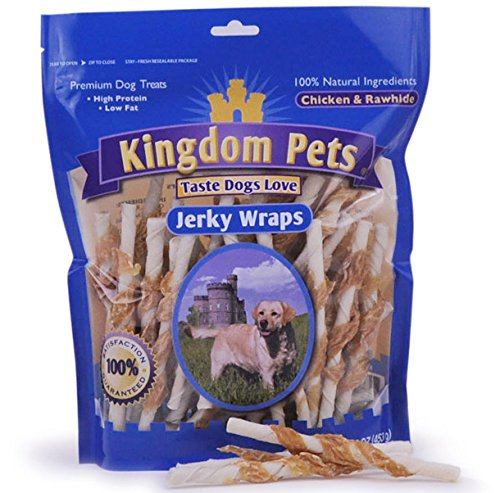 Kingdom Pets Premium Dog Treats, Chicken and Rawhide Jerky Wraps, 16-Ounce Bag