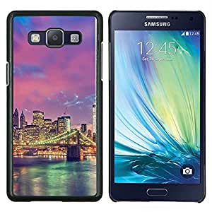 Dragon Case - FOR Samsung Galaxy A5 A5000 A5009 - city skyline lights river bridge architecture - Caja protectora de pl??stico duro de la cubierta Dise?¡Ào Slim Fit