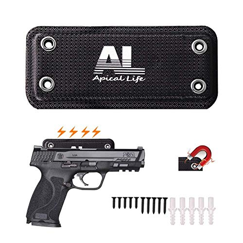 ApicalLife Magnetic Gun Mount | 35 Lbs Rated Gun Magnet | Covered with Neoprene Home and Vehicle Truck Car Holster |Concealed Holder Storage for Handgun, Rifle, Shotgun, Pistol, ()