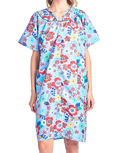 Casual Nights Women's Floral Woven Snap-Front Lounger House Dress - Blue - XX-Large by Casual Nights (Image #5)