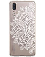 Clear Case for Huawei P20 Pro with Screen Protector,QFFUN Ultra Thin Slim Fit Soft Transparent Silicone Phone Case Crystal TPU Bumper Shell Scratch Resistant Protective Cover - Sunflower