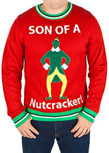 Movie Quality Buddy The Elf Costume (Men's Elf the Movie 'Son of a Nutcracker' Sweater (Red) - Ugly Holiday Sweater (Large))