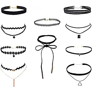 23pcs Jewellery Set Black Gothic Stretch Elastic Double Line Henna Tattoo Choker Collar Pendant Necklace qkYggJxtq