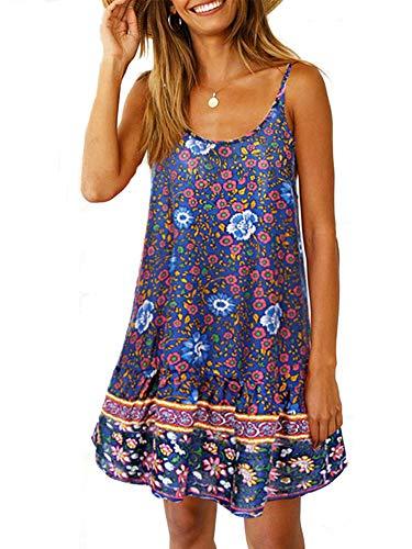 Uni Clau Womens Summer Beach Dress - Paisley Spaghetti Strap Backless A line Swing Casual Sundress Beachwear Cotton Navy