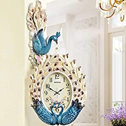 MGE UPS Systems Clock Wall Clock,26 Inch Retro European Wall Clock with Double Sided Clock, Living Room Clocks, Peacock Decorative Wall Hanging, Large Silent Clock (Color : A)