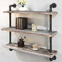 Industrial Pipe Shelf Bookcase Shelf Shelves Retro Floating Wood Shelving (36)